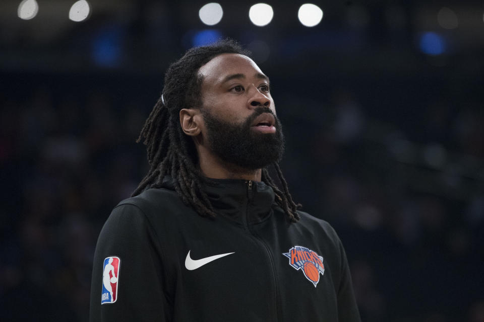 New York Knicks center DeAndre Jordan warms up before the start of an NBA basketball game against the Chicago Bulls, Monday, April 1, 2019, at Madison Square Garden in New York. (AP Photo/Mary Altaffer)