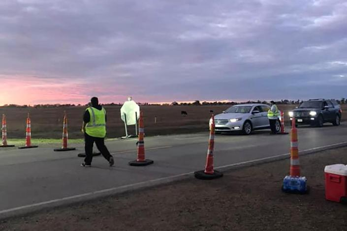 IMAGE: Cheyenne River Sioux safety checkpoint  (Chairman Harold Frazier, Cheyenne River Sioux Tribe)