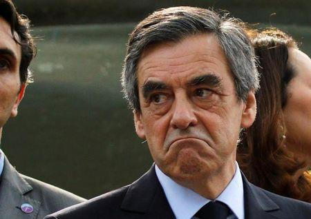 Francois Fillon former French Prime Minister member of the Republicans political party and 2017 presidential election candidate of the French centre-right reacts as he visits the Mont Faron in Toulon