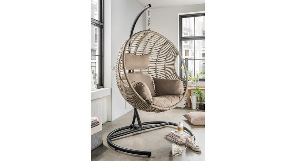 Vasillios Hanging Chair with Stand (Wayfair)