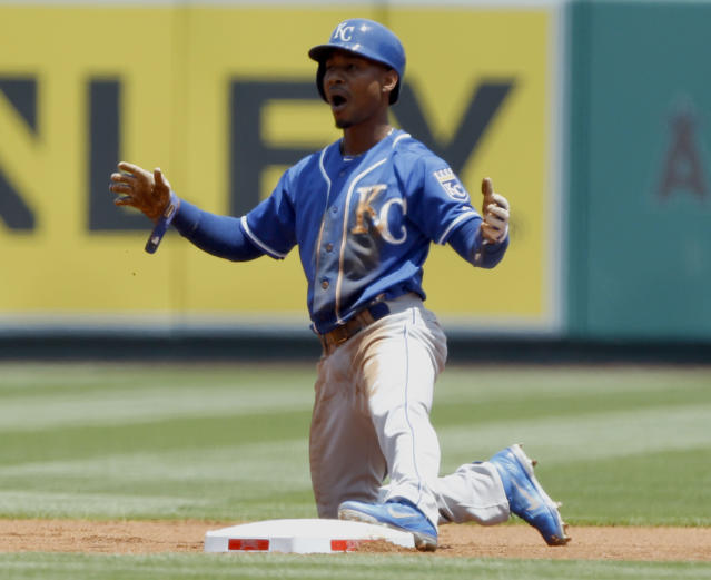 Kansas City Royals' Jarrod Dyson, reacts to the umpire's out call trying to steal second base in the first inning of a baseball game against the Los Angeles Angels on Sunday, May 25, 2014, in Anaheim, Calif. (AP Photo/Alex Gallardo)