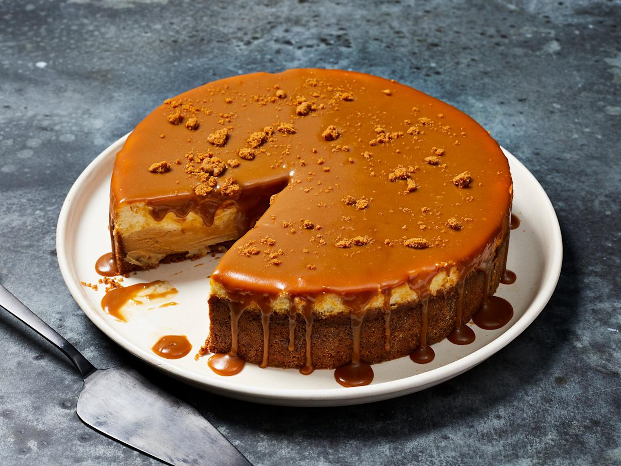"""<p>This decadent cheesecake harnesses the addictively toasty power of speculoos cookies in the crust, in a layer of the filling, and in an over-the-top delicious caramel sauce you're gonna want to pour over everything (we highly suggest you do). Perfect for a holiday gathering or other special occasion, this cookie butter cheesecake recipe is guaranteed to please. We tested using Biscoff cookie butter, but feel free to use your favorite brand of speculoos spread. </p> <p><a href=""""https://www.myrecipes.com/recipe/cookie-butter-cheesecake"""">Cookie Butter Cheesecake Recipe</a></p>"""