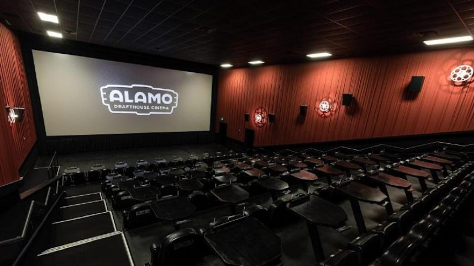 The interior of an Alamo Drafthouse cinema, a movie lover's paradise.