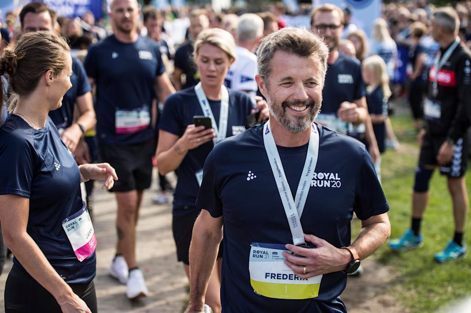 Denmark's Crown Prince Frederik attends the Royal Run, in Odense, Denmark, September 12, 2021.   Ritzau Scanpix/Tim Kildeborg Jensen via REUTERS    ATTENTION EDITORS - THIS IMAGE WAS PROVIDED BY A THIRD PARTY. DENMARK OUT. NO COMMERCIAL OR EDITORIAL SALES IN DENMARK.