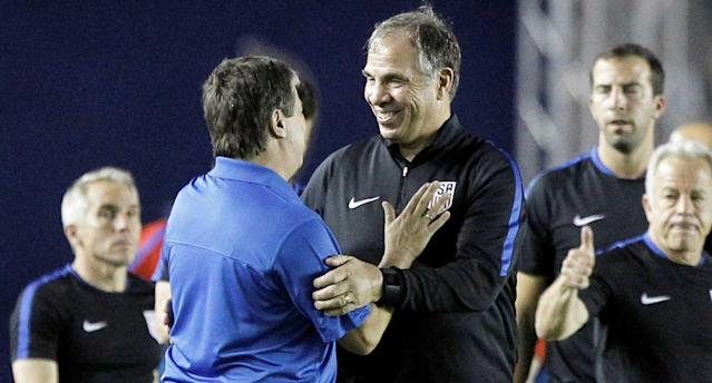 Arena had reason to smile after leading the U.S. to four points from two World Cup qualifiers in March. (Reuters)
