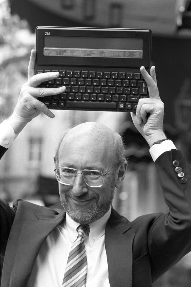 Clive Sinclair with another affordable computer, the Z88