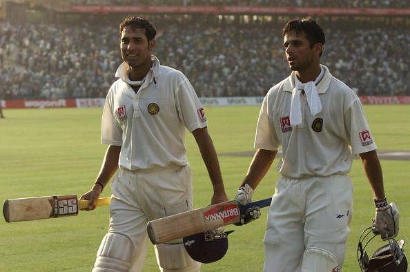 VVS Laxman (left) and Rahul Dravid of India leave the field at the end of play after batting the entire day, after day four of the 2nd Test between India and Australia played at Eden Gardens in 2001.