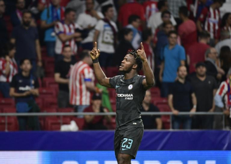 Chelsea's Michy Batshuayi celebrates after scoring during their UEFA Champions League Group C match against Atletico Madrid, at the Metropolitan stadium in Madrid, on September 27, 2017
