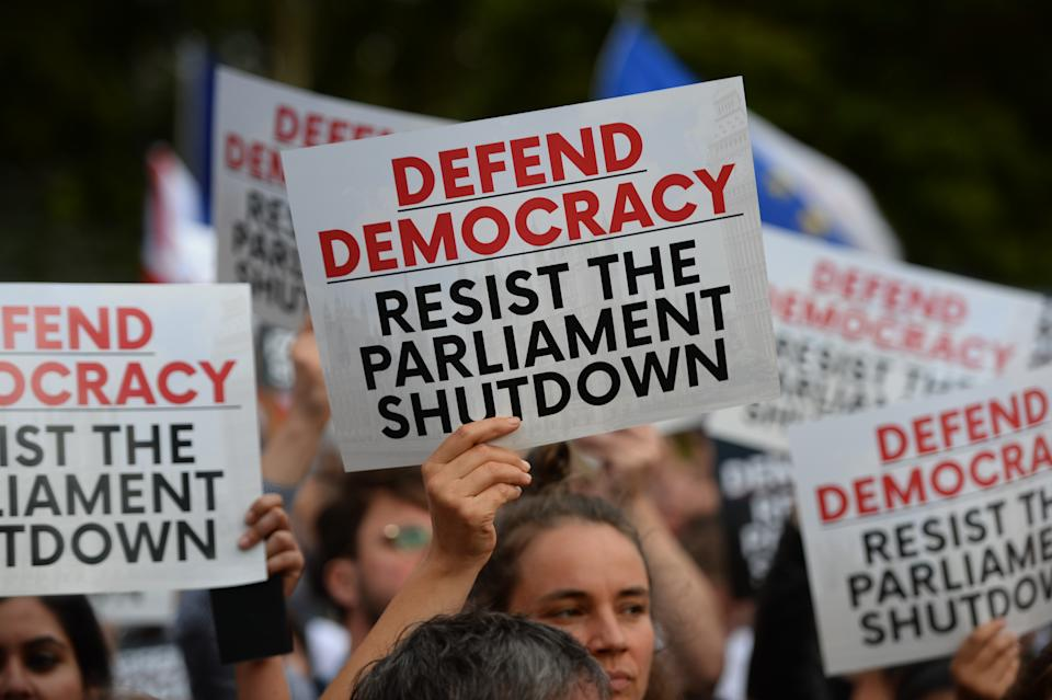 Protestors from Another Europe is Possible outside the Houses of Parliament, London, to demonstrate against Prime Minister Boris Johnson temporarily closing down the Commons from the second week of September until October 14 when there will be a Queen's Speech to open a new session of Parliament.