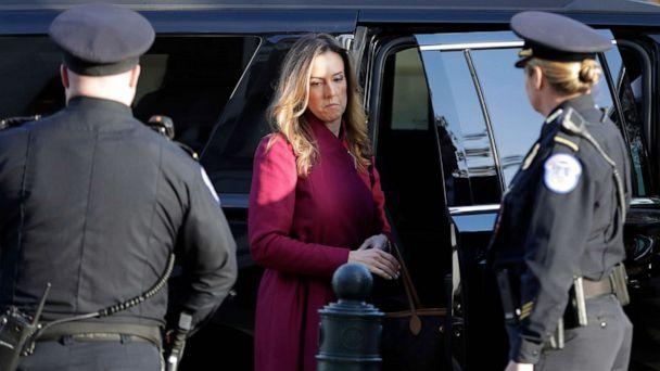 PHOTO: Jennifer Williams, an aide to Vice President Mike Pence, arrives to testify before the House Intelligence Committee on Capitol Hill in Washington, D.C., Nov. 19, 2019, during a public impeachment hearing. (Julio Cortez/AP)
