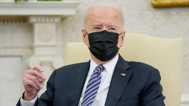 PHOTO: President Joe Biden snaps his fingers as he responds to a reporters question during a meeting with congressional leaders in the Oval Office of the White House, May 12, 2021, in Washington. (Evan Vucci/AP)
