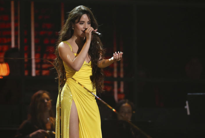 FILE - Camila Cabello performs at the 62nd annual Grammy Awards Jan. 26, 2020, in Los Angeles. Cabello turns 24 on March 3. (Photo by Matt Sayles/Invision/AP, File)