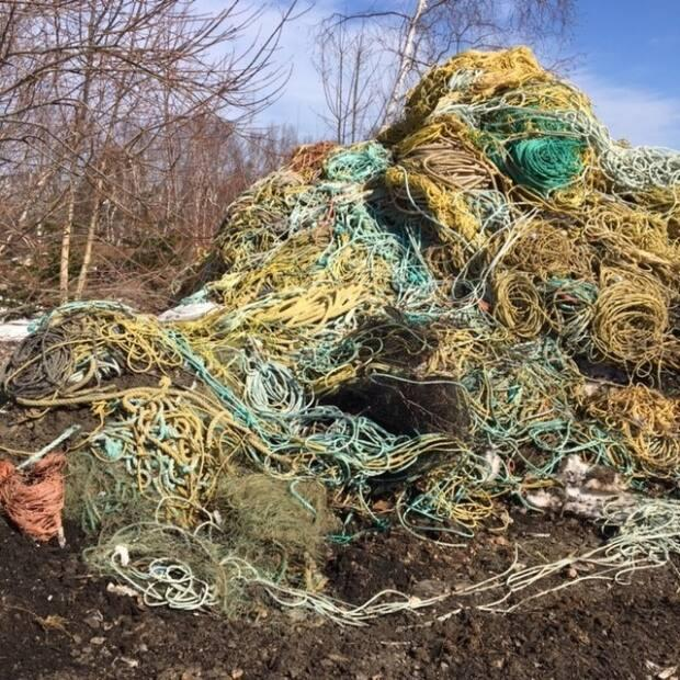 Victoria County in Cape Breton is unable to find a home for a stockpile of 50 tonnes of fishing gear after the federal government made changes to its fishing gear regulations. (Submitted by Jocelyn Bethune - image credit)