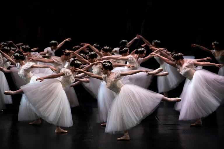 "Paris Opera dancers perform at the Palais Garnier during a dress rehearsal of ""Giselle"" in January last year"