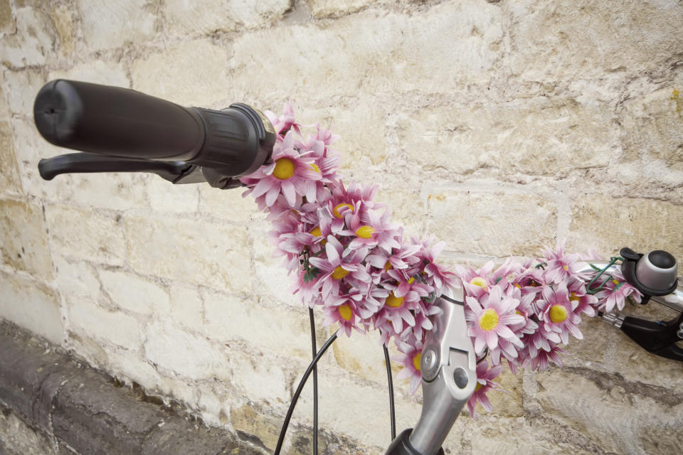 An arrangement of flowers on handlebar of a bicycle. Beautiful  bicycle, resting on wall; vintage style.