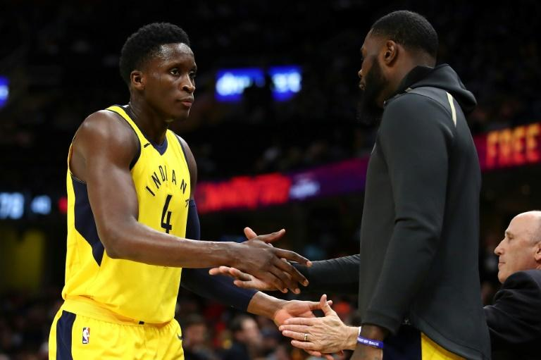 Victor Oladipo of the Indiana Pacers (L) celebrates with Lance Stephenson