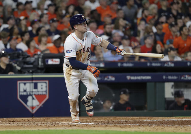 "<a class=""link rapid-noclick-resp"" href=""/mlb/players/10183/"" data-ylk=""slk:Alex Bregman"">Alex Bregman</a> is putting together quite a postseason resume in just two years. (AP Photo)"