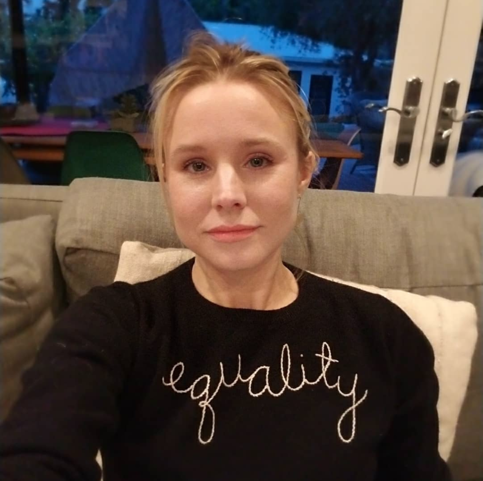 """<p><em>The Good Place</em> star let her top — that had """"equality"""" stitched on the front — do the talking. """"Staying in tonight but wearing black with all my sisters!"""" she wrote. (Photo: <a rel=""""nofollow noopener"""" href=""""https://www.instagram.com/p/Bdq3i_klSQY/?hl=en&taken-by=kristenanniebell"""" target=""""_blank"""" data-ylk=""""slk:Kristen Bell via Instagram"""" class=""""link rapid-noclick-resp"""">Kristen Bell via Instagram</a>) </p>"""