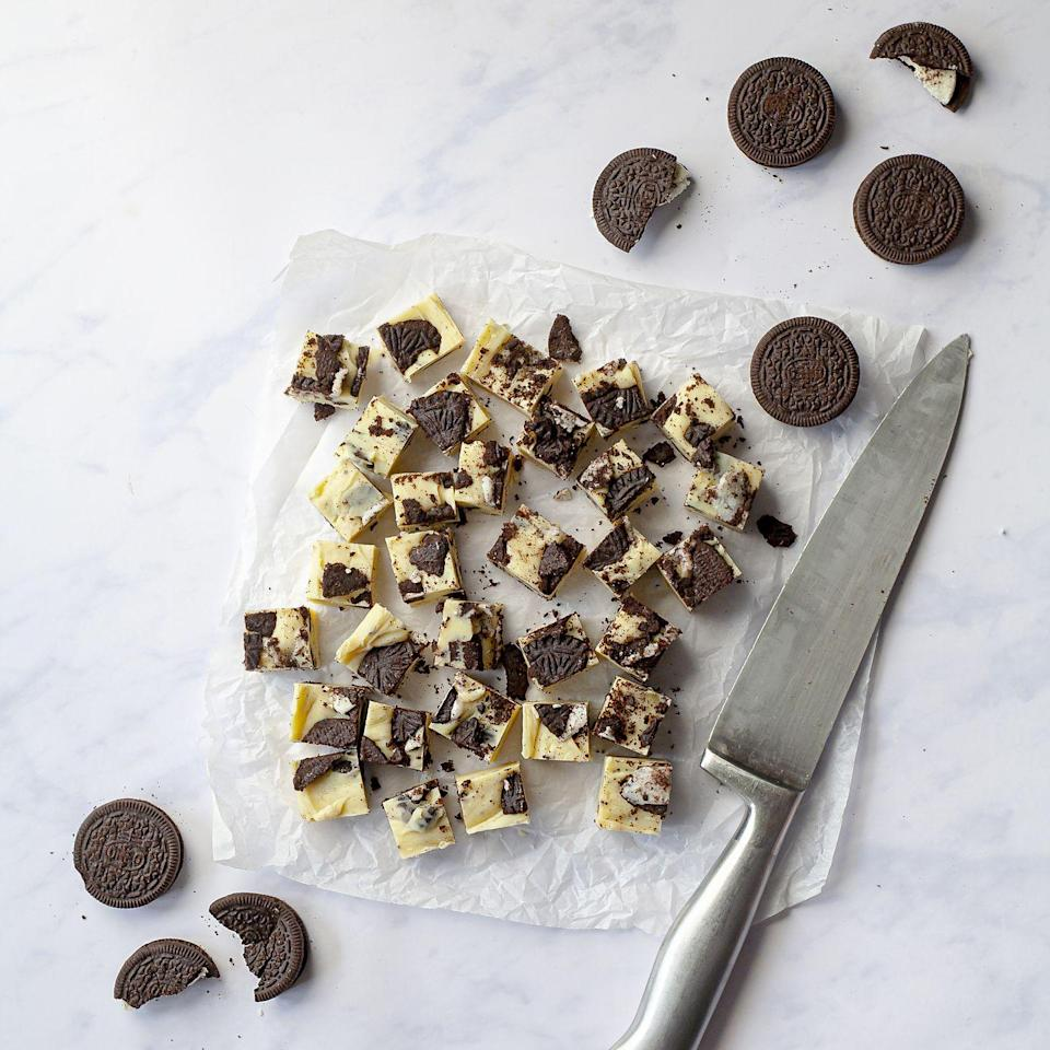 """<p>This easy 3 ingredient fudge requires no scales – most chocolate comes in 100g or 200g bars, so you can add it without needing to weigh it.</p><p><strong>Recipe: <a href=""""https://www.goodhousekeeping.com/uk/food/recipes/a32890835/three-ingredient-white-chocolate-oreo-fudge/"""" rel=""""nofollow noopener"""" target=""""_blank"""" data-ylk=""""slk:Three Ingredient Chocolate Oreo Fudge"""" class=""""link rapid-noclick-resp"""">Three Ingredient Chocolate Oreo Fudge</a></strong></p>"""