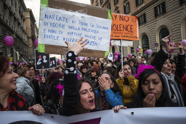 <p>Women protest during the national demonstration for the International Day for the Elimination of Violence against Women, in Rome on Nov. 25, 2017. (Photo: Antonio Masiello/Getty Images) </p>