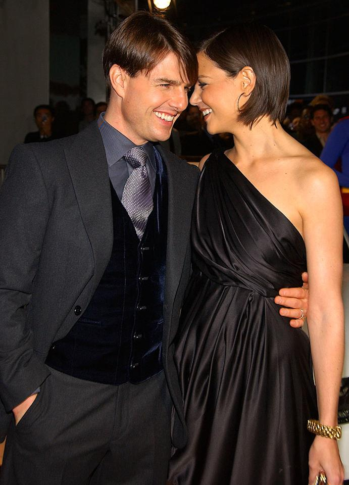 """Tom Cruise gets up close and personal with his wife Katie Holmes. The couple married in 2006. Jean-Paul Aussenard/<a href=""""http://www.wireimage.com"""" target=""""new"""">WireImage.com</a> - November 1, 2007"""