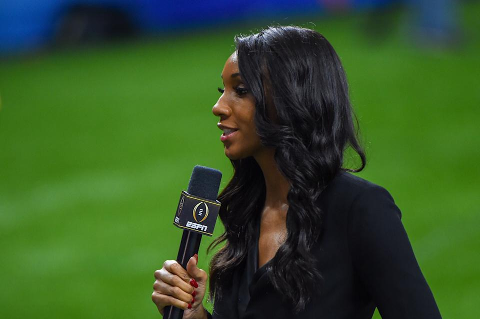 NEW ORLEANS, LA - JANUARY 01: ESPN analyst Maria Taylor reports from the sideline during the Allstate Sugar Bowl College Football Playoff Semifinal between the Ohio State Buckeyes and Clemson Tigers at the Mercedes-Benz Superdome on January 1, 2021 in New Orleans, LA. (Photo by Ken Murray/Icon Sportswire via Getty Images)