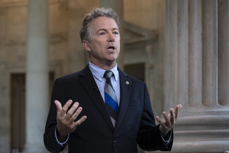 Sen. Rand Paul, R-Ky., talks during a TV interview on Capitol Hill in Washington. (AP)