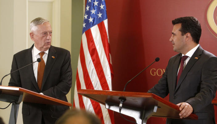 U.S. Defense Secretary James Mattis, left, talks to the media in presence of Macedonian Prime Minister Zoran Zaev, right, following their meeting at the government building in Skopje, Macedonia, Monday, Sept. 17, 2018. Mattis arrived in Macedonia Monday and condemned Russian efforts to use its money and influence to build opposition to an upcoming vote that could pave the way for the country to join NATO, a move Moscow opposes. (AP Photo/Boris Grdanoski)