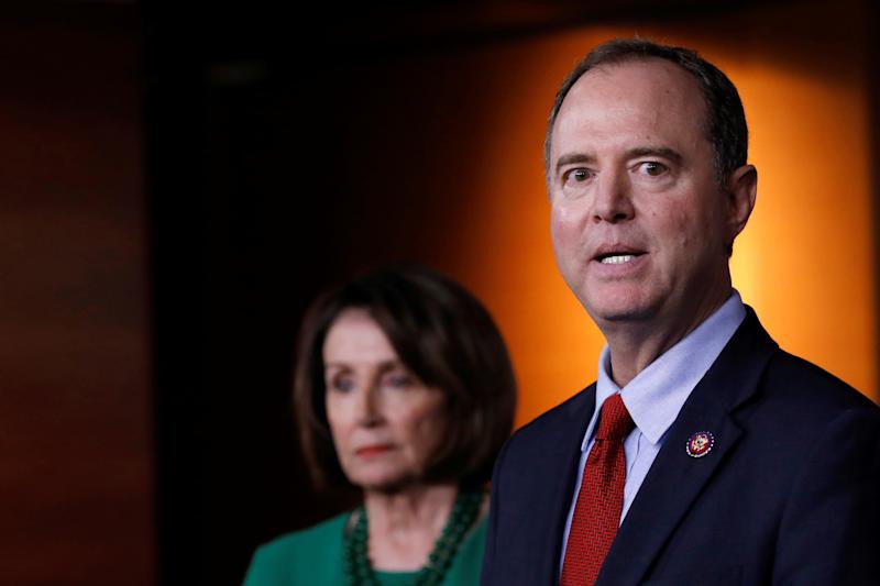 House Intelligence Committee Chairman Adam Schiff speaks next to U.S. House Speaker Nancy Pelosi regarding the impeachment inquiry of U.S. President Donald Trump on Capitol Hill in Washington, U.S., October 15, 2019. (Photo: Carlos Jasso/Reuters)