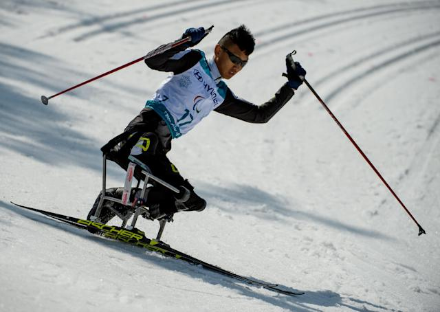 Mingyuan Du CHN competes in the Cross-Country Skiing Sitting Men's 1.1km Sprint at the Alpensia Biathlon Centre. The Paralympic Winter Games, PyeongChang, South Korea, Wednesday 14th March 2018. OIS/IOC/Thomas Lovelock/Handout via REUTERS
