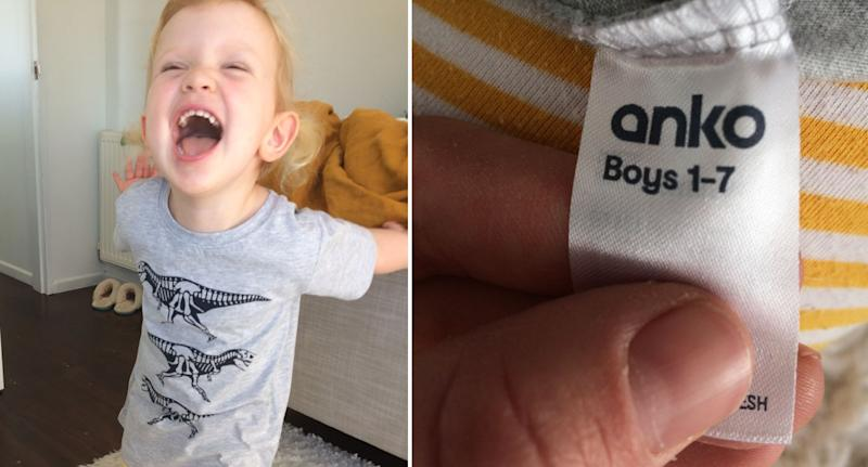India Springles' daughter Lola (left) wearing a grey dinosaur t-shirt. Pictured right is the boys label inside the t-shirt.