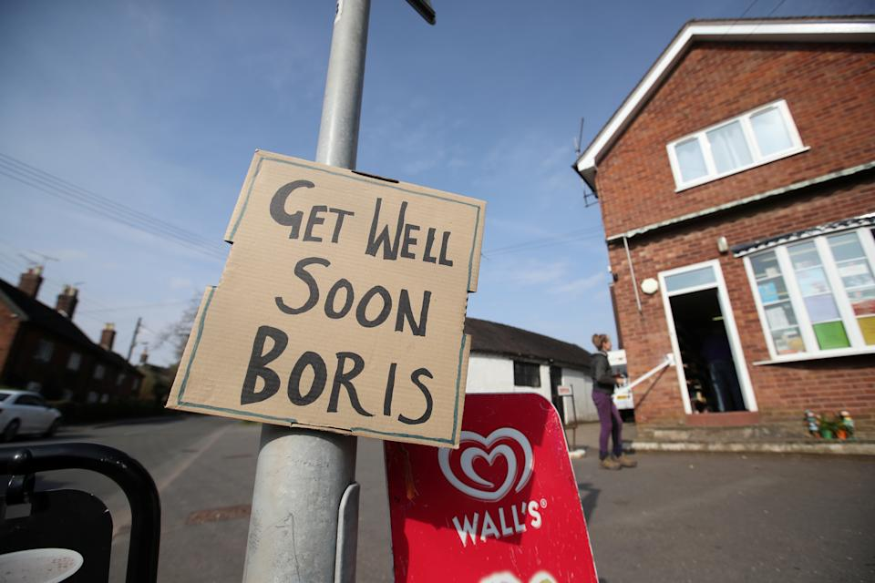 A sign of support for British Prime Minister Boris Johnson, who has been in hospital since Monday  as the spread of the coronavirus disease (COVID-19) continues, in Swynnerton, Britain, April 9, 2020. REUTERS/Carl Recine