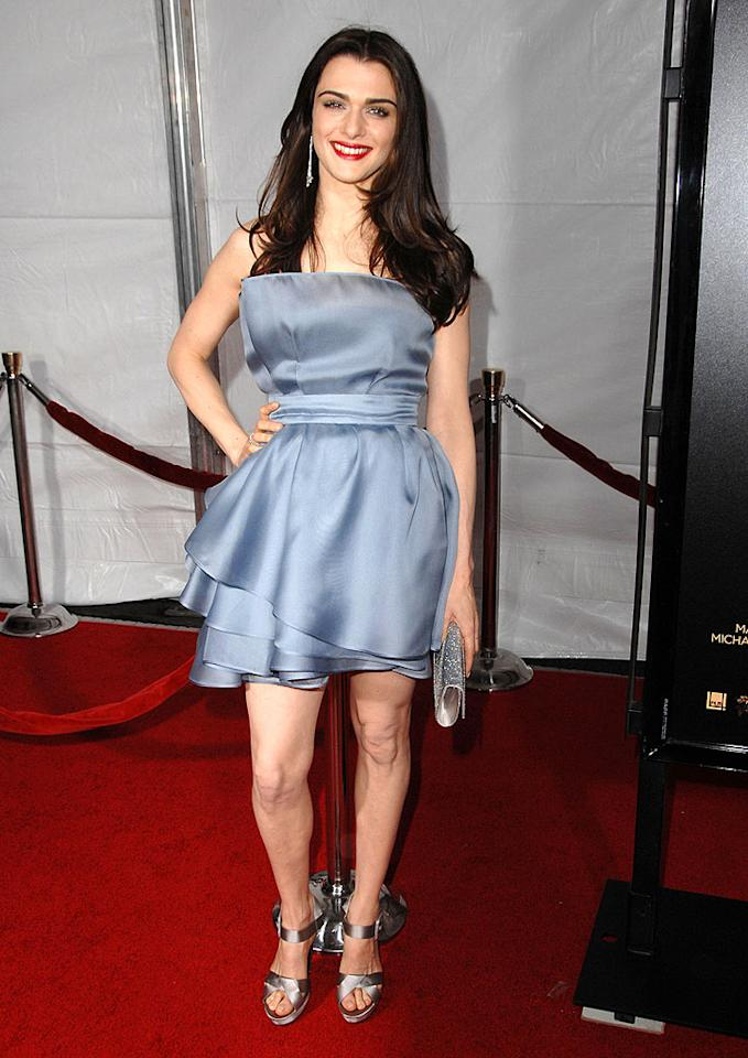 "Rachel Weisz was cool as ice in a tiered satin Valentino dress with Roger Vivier platform heels, Tiffany & Co. jewels, and a Judith Leiber bag at the Los Angeles premiere of ""The Lovely Bones."" Steve Granitz/<a href=""http://www.wireimage.com"" target=""new"">WireImage.com</a> - December 7, 2009"