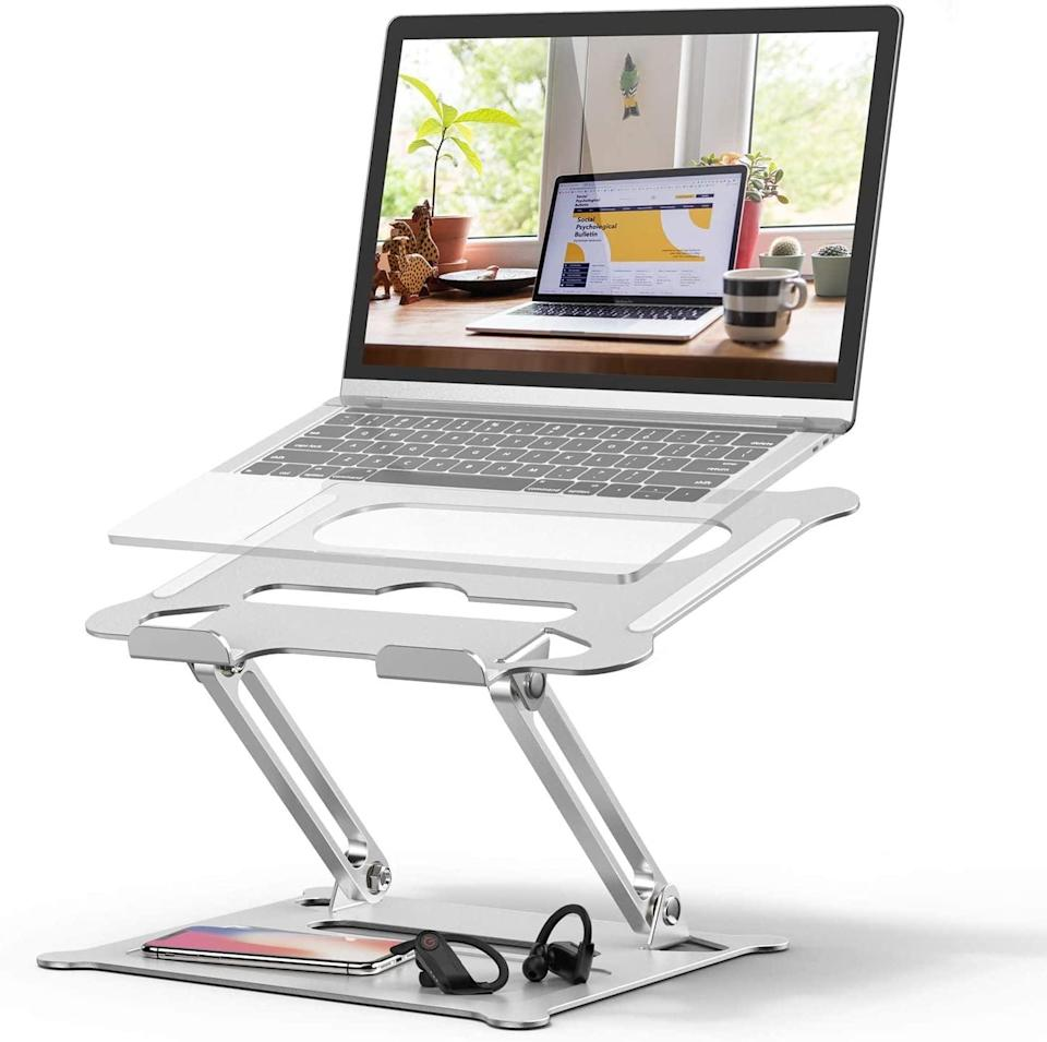 <p>This <span>Adjustable Laptop Stand</span> ($26) will give you the angles you need, and keep the top of your head from getting cut off (if you know, you know).</p>