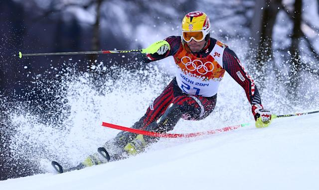 Croatia's Ivica Kostelic skis in the slalom portion of the men's supercombined to win the silver medal at the Sochi 2014 Winter Olympics, Friday, Feb. 14, 2014, in Krasnaya Polyana, Russia. (AP Photo/Alessandro Trovati)