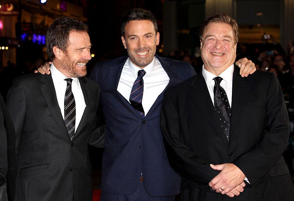 "<p class=""MsoNoSpacing"">It's a Ben Affleck sandwich! The ""Argo"" actor-director was flanked by his co-stars, Bryan Cranston and John Goodman, at the film's London premiere on Wednesday. While in the U.K., Cranston also got to connect with another co-star, his ""Breaking Bad"" partner-in-crime, Aaron Paul, who has been filming ""A Long Way Down"" in Europe. Let's hope they didn't get into any trouble overseas … (10/17/2012)</p>"