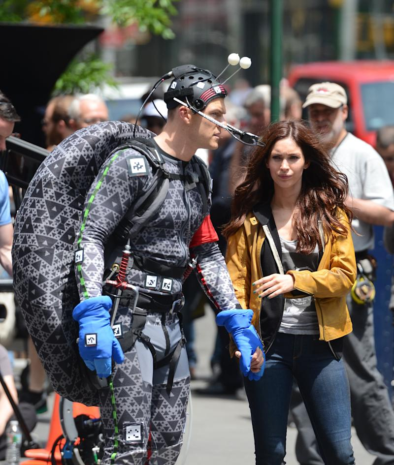 "NEW YORK, NY - MAY 20: Actress Megan Fox(R) and Alan Ritchson are seen on the set of ""Teenage Mutant Ninja Turtles""on May 20, 2013 in New York City. (Photo by Raymond Hall/FilmMagic)"