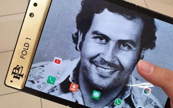 The Escobar Fold 1 was advertised with a mugshot of cocaine kingpin Pablo Escobar as the background - Escobar Inc