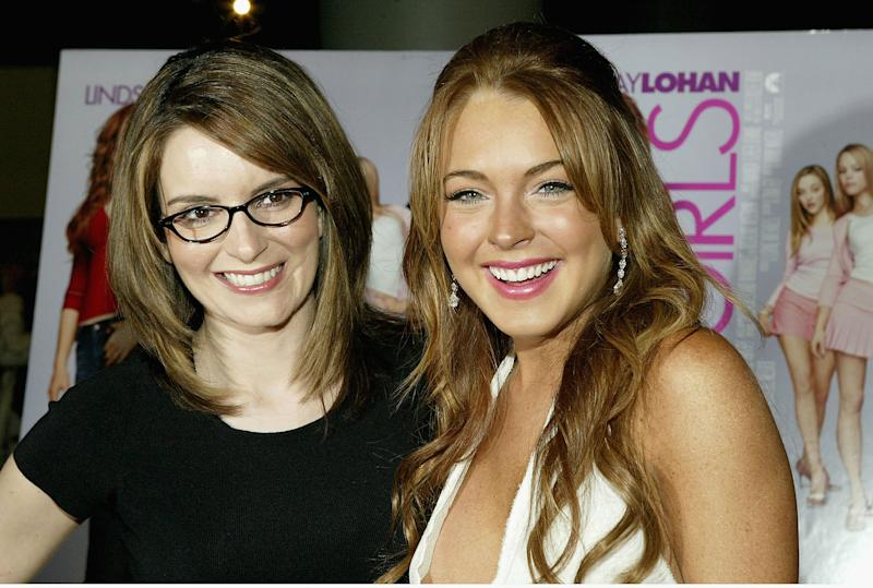 "NEW YORK - APRIL 23: (U.S. TABS AND HOLLYWOOD REPORTER OUT) Comedian/writer Tina Fey and actress Lindsay Lohan attend a private screening of ""Mean Girls"" on April 23, 2004 at Loews Lincoln Square Theater, in New York City. (Photo by Paul Hawthorne/Getty Images)"