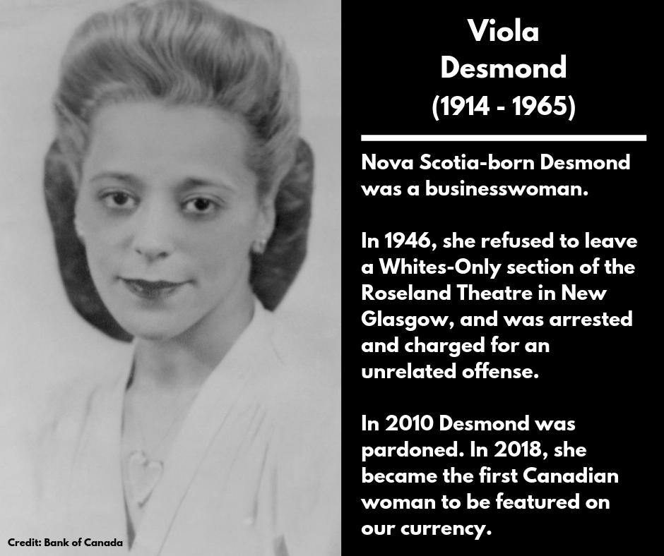 <p><strong>Viola Desmond</strong><br />(1914 – 1965)<br />Nova Scotia-born Desmond was a businesswoman.<br />In 1946, she refused to leave a Whites-Only section of the Roseland Theatre in New Glasgow, and was arrested and charged for an unrelated offense.<br />In 2010 Desmond was pardoned. In 2018, she became the first Canadian woman to be featured on our currency. </p>