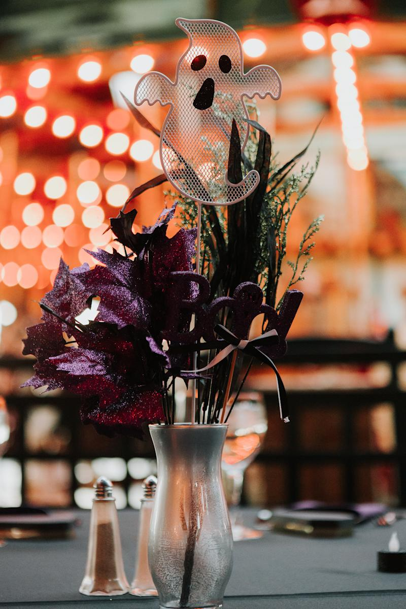 Tables were adorned with ghostly decor. (The Ramsdens)