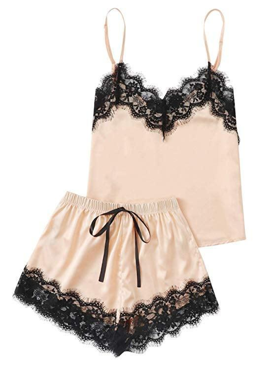 <p>This <span>MakeMeChic Lace Satin Sleepwear Pajama Set</span> ($16 - $24) makes a thoughtful gift, with its elegant look, soft fabric, and stylish silhouette. Grab a pair for yourself and your friend who's not only a homebody, but loves to feel good and comfy at all times.</p>