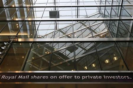 An electronic information board is seen at the London Stock Exchange in the City of London