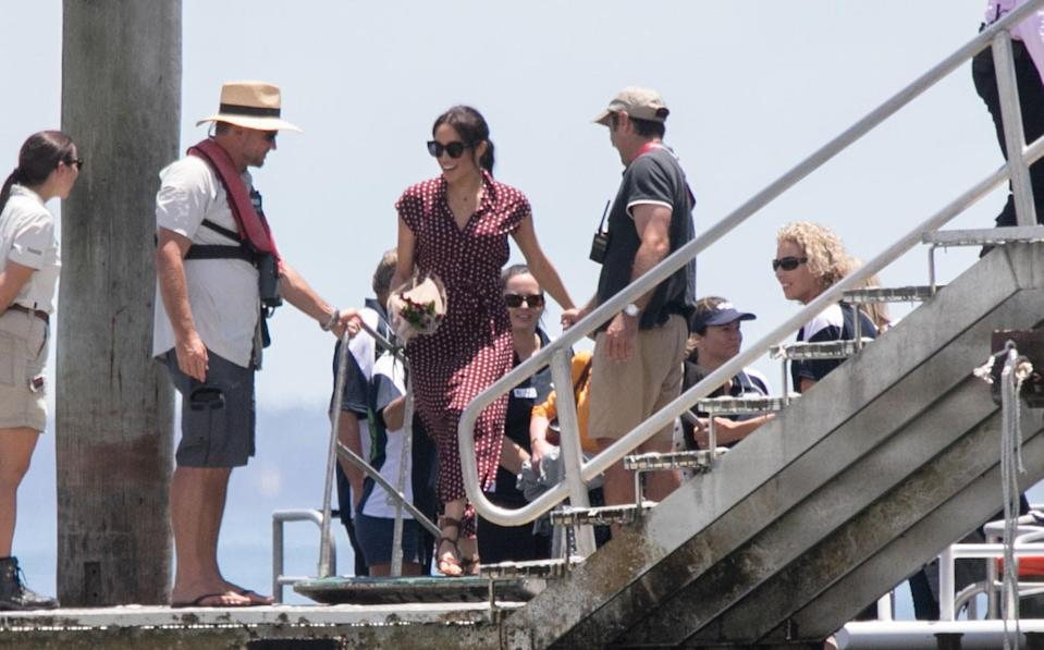 Meghan Markle flew from Sydney to Hervey Bay with her husband Prince Harry on Monday. Photo: Media Mode