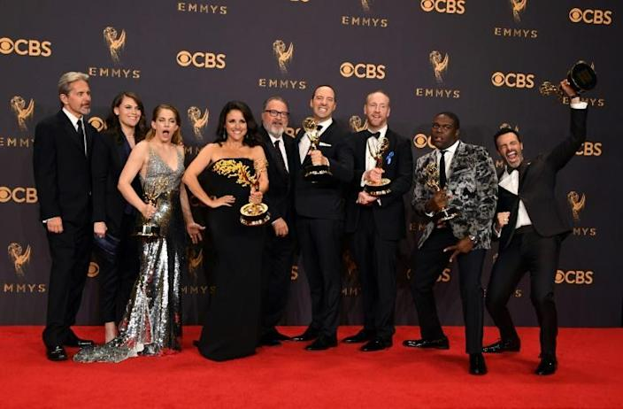 """Julia Louis-Dreyfus (4th from L) and the cast of """"Veep"""" pose with their Emmy for Best Comedy Series for """"Veep"""" in 2017 -- they are contenders again in 2019 (AFP Photo/Mark RALSTON)"""