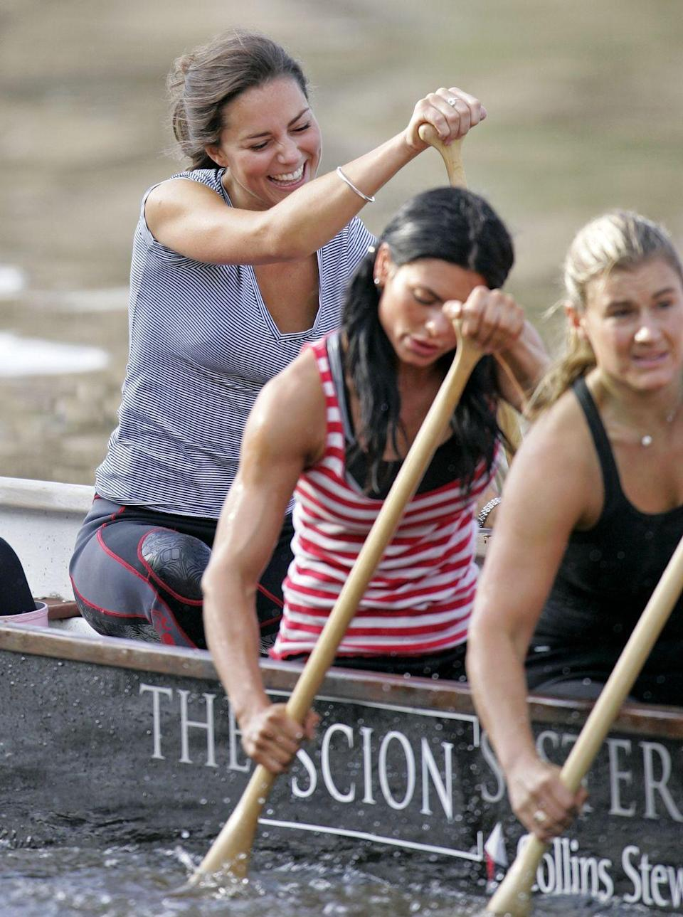 "<p>Kate trained with the Sisterhood Cross Channel rowing team on the River Thames. This wasn't the first time she got <a href=""https://www.townandcountrymag.com/society/tradition/a28646454/kate-middleton-kings-cup-disqualification-prince-william-wins/"" rel=""nofollow noopener"" target=""_blank"" data-ylk=""slk:competitive over a boat race"" class=""link rapid-noclick-resp"">competitive over a boat race</a>.</p>"