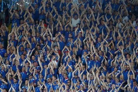 Soccer Football - World Cup - Group D - Argentina vs Iceland - Spartak Stadium, Moscow, Russia - June 16, 2018 Iceland fans chant during the match REUTERS/Kai Pfaffenbach