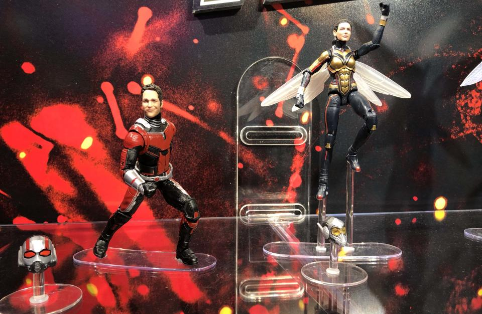 """<p>The titular stars of Marvel's upcoming summer blockbuster, <a rel=""""nofollow"""" href=""""https://www.yahoo.com/entertainment/tagged/ant-man-and-the-wasp"""" data-ylk=""""slk:Ant-Man and the Wasp"""" class=""""link rapid-noclick-resp""""><em>Ant-Man and the Wasp</em></a>, show off some serious 'tude in these poseable Hasbro figures. (Photo: Adam Lance Garcia) </p>"""