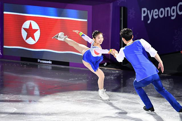 <p>North Korea's Ryom Tae Ok and ju North Korea's Kim Ju Sik perform during the figure skating gala event during the Pyeongchang 2018 Winter Olympic Games at the Gangneung Oval in Gangneung on February 25, 2018. / AFP PHOTO / Mladen ANTONOV (Photo credit should read MLADEN ANTONOV/AFP/Getty Images) </p>