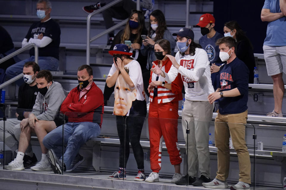 Gonzaga cheers as their teams plays Oklahoma in the second half of a college basketball game in the second round of the NCAA tournament at Hinkle Fieldhouse in Indianapolis, Monday, March 22, 2021. (AP Photo/AJ Mast)